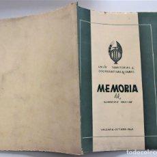 Libros de segunda mano: UNIÓN TERRITORIAL DE COOPERATIVAS DEL CAMPO DE LA PROVINCIA DE VALENCIA - MEMORIA EJERCICIO 1945-46. Lote 223021888
