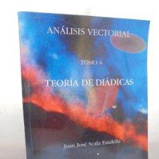 Libros de segunda mano de Ciencias: ANALISIS VECTORIAL. TOMO 4. TEORIA DE DIADICAS. JUAN JOSE ESTALELLA. EDITORIAL SOCIEDAD DE AMIGOS. Lote 226675600