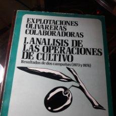 Libros de segunda mano: EXPLOTACIONES OLIVARERAS COLABORADORAS. 1 ANALISIS DE LAS OPERACIONES DE CULTIVO 1976 .. Lote 232617050