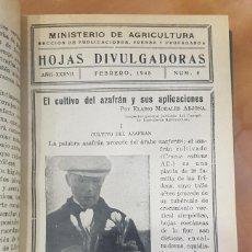 Libros de segunda mano: 1945 AÑO COMPLETO,TOMO. HOJAS DIVULGADORAS. MINISTERIO DE AGRICULTURA. 44 NÚMEROS. RARO Y CURIOSO.. Lote 233406470