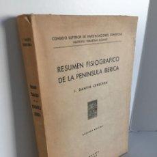 Libros de segunda mano: RESUMEN FISIOGRAFICO DE LA PENINSULA IBERICA. J. DANTIN CERECEDA. INSTITUTO SEBASTIAN ELCANO. 1948. Lote 243775095