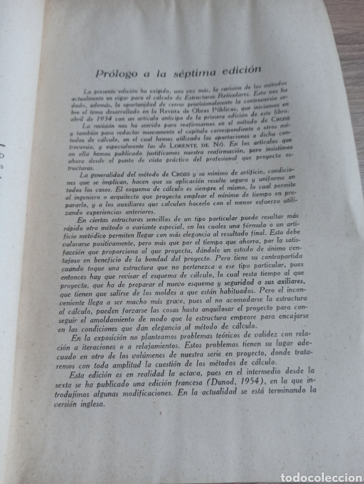 Libros de segunda mano de Ciencias: Cálculo de Estructuras Reticulares Carlos Fernández Casado Editorial Dossat Septima Edición 1958 - Foto 5 - 244713620
