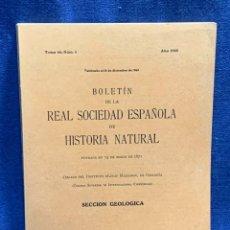 Libros de segunda mano: BOLETIN DE LA REAL SOCIEDAD ESPAÑOLA DE HISTORIA NATURAL TOMO 66 NUMERO 4 AÑO 1968 24X16X1CMS. Lote 255543375