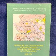 Libros de segunda mano: SINTESIS INVESTIGACIONES GEOLOGICO-MINERAS I.G.M.E. EXTREMADURA 21X14X0,5CMS. Lote 255545040