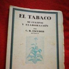 Libros de segunda mano: EL TABACO, SU CULTIVO Y ELABORACIÓN- C. B. ESCUDER, ESPASA-CALPE EDITOR. 1938.. Lote 267440489