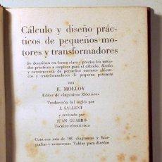 Libros de segunda mano de Ciencias: CÁLCULO Y DISEÑO PRÁCTICO DE PEQUEÑOS MOTORES Y TRANSFORMADORES - BARCELONA 1974 - ILUSTRADO. Lote 289298648