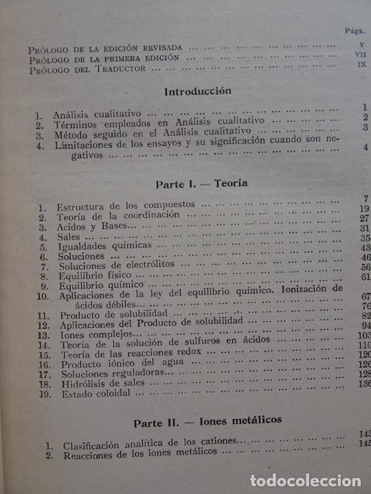 Libros de segunda mano de Ciencias: análisis químico cualitativo manuel marin 1944 luis curtman 3ª edición - Foto 20 - 290087978