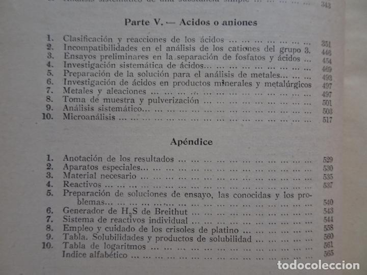 Libros de segunda mano de Ciencias: análisis químico cualitativo manuel marin 1944 luis curtman 3ª edición - Foto 22 - 290087978