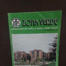 Libros de segunda mano: ZONA VERDE....BOLETIN DE LA ASOCIACION ESPAÑOLA DE PARQUES Y JARDINES PÚBLICOS..NUMERO 16...1988... Lote 297014493