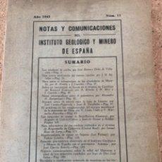 Libros de segunda mano: NOTAS Y COMUNICACIONES DEL INSTITUTO GEOLÓGICO Y MINERO DE ESPAÑA (CAJ 5). Lote 297039648