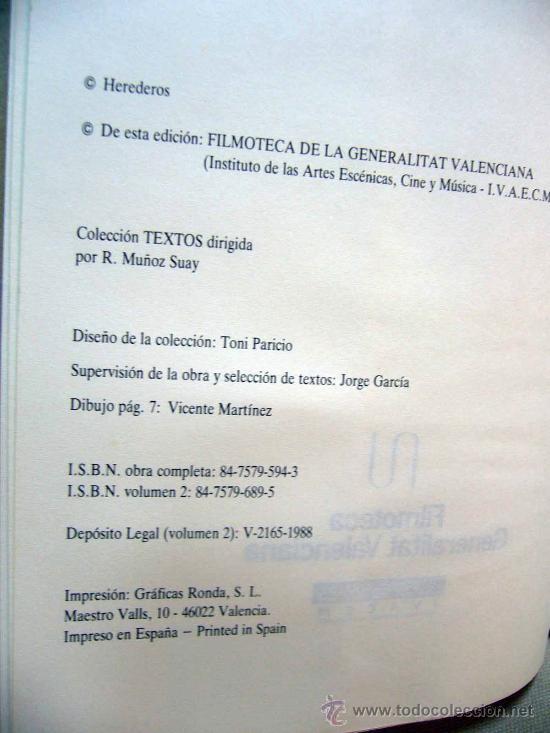 Libros de segunda mano: LIBRO, JUAN PIQUERAS, EL DELLUC ESPAÑOL, VOLUMEN 2, JUAN MANUEL LLOPIS, FILMOTECA, TEXTOS 1B, 1988 - Foto 2 - 29301439
