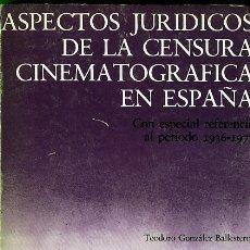 Libros de segunda mano: TEODORO GONZÁLEZ BALLESTEROS. ASPECTOS JURÍDICOS DE LA CENSURA CINEMATOGRÁFICA EN ESPAÑA. 1981. Lote 37516789