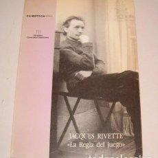 "Libros de segunda mano: VV.AA. JACQUES RIVETTE: ""LA REGLA DEL JUEGO"". RM76498. . Lote 61535676"