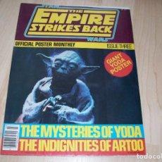 Libros de segunda mano: STAR WARS. EMPIRE STRIKES BACK. REVISTA CON POSTER GRANDE. OFFICIAL POSTER MONTHLY #3. 1980.. Lote 89673188