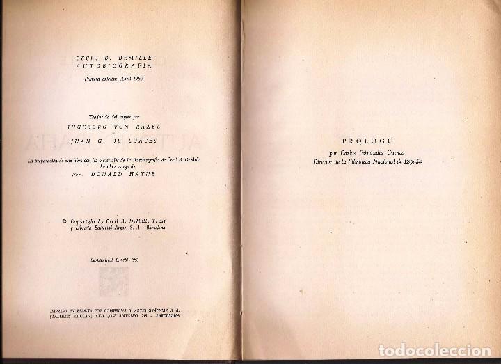 Libros de segunda mano: CECIL B. DEMILLE – AUTOBIOGRAFÍA – ARGOS, 1960 – 1ª ED. - CON FOTOGRAFÍAS B/N. - Foto 4 - 89914720