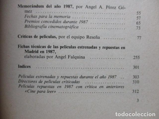 Libros de segunda mano: CINE PARA LEER, Historia crítica de un año de cine 1987 - EQUIPO RESEÑA EQUIPO RESEÑA - Foto 8 - 109829999