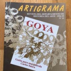 Libros de segunda mano: ARTIGRAMA REVISTA DE HISTORIA DEL ARTE, CENTENARIO DEL CINE. Lote 118539607