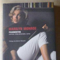 Libros de segunda mano: MARILYN MONROE. FRAGMENTOS. POEMAS. NOTAS PERSONALES. CARTAS. CINE.. Lote 136834502