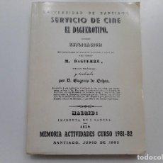 Libros de segunda mano: SERVICIO DE CINE.MEMORIA ACTIVIDADES CURSO 1981-82 Y91649. Lote 145590626