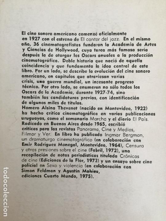 Libros de segunda mano: CINE SONORO AMERICANO Y LOS OSCARS DE HOLLYWOOD - HOMERO ALSINA - ED. CORREGIDOR, 1975 - GCH - Foto 2 - 168048312