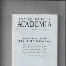 Libros de segunda mano: CUADERNOS DE LA ACADEMIA Nº 3. JUNIO 1988, MEMORIA VIVA DEL CINE ESPAÑOL SON 438 PÁGINAS. Lote 168876576