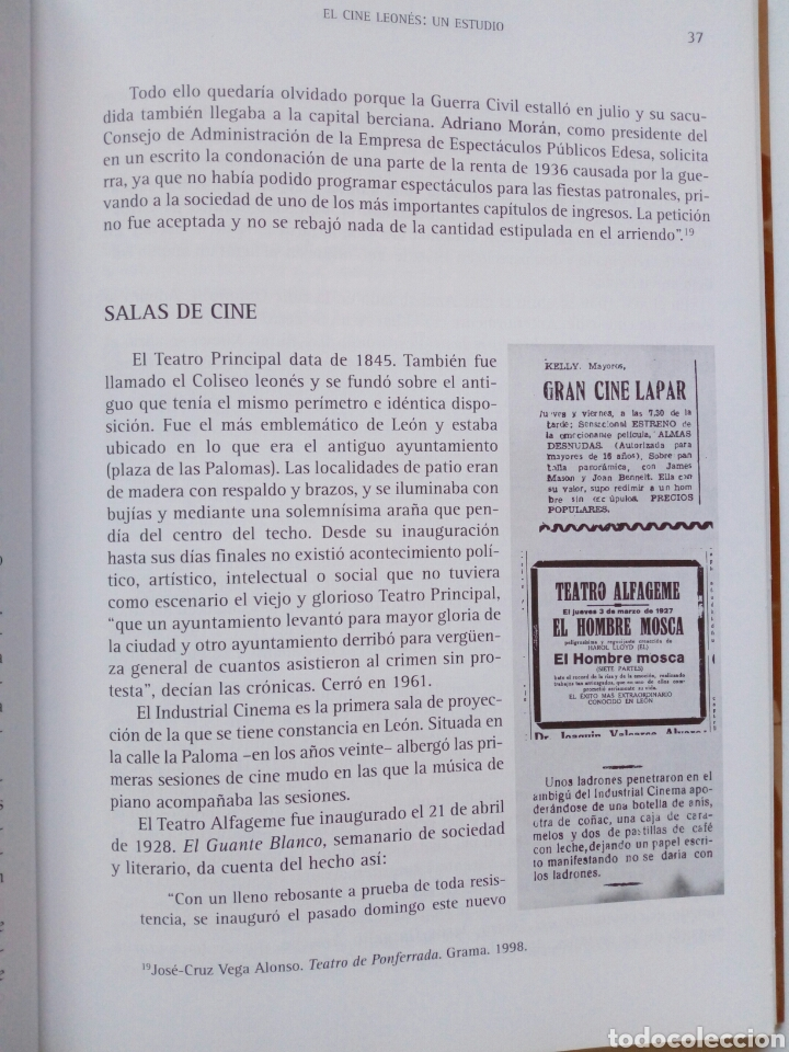 Libros de segunda mano: EL CINE LEONES, UN ESTUDIO (2005, Instituto Leonés de Cultura) - Juan Manuel Alvarez Benito ( León - Foto 4 - 170899470