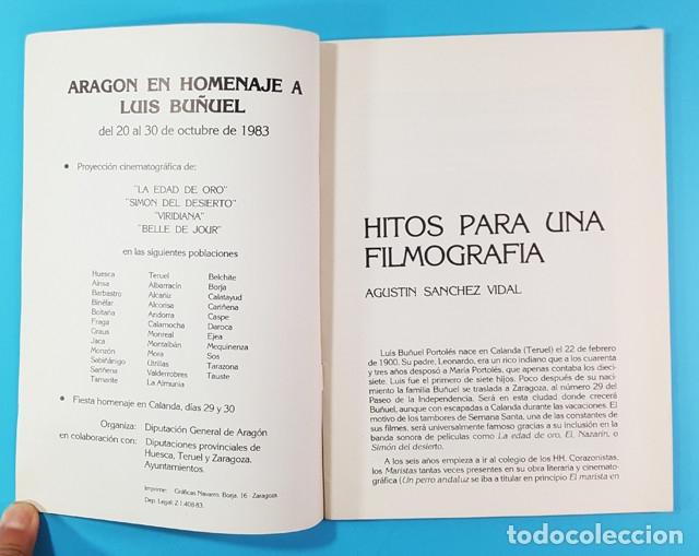 Libros de segunda mano: ARAGON EN HOMENAJE A LUIS BUÑUEL. OCTUBRE 1983 DIPUTACION GENERAL DE ARAGON 28 PAGINAS - Foto 2 - 172701697