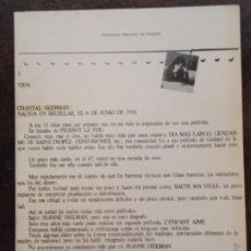 Libros de segunda mano: CHANTAL ACKERMAN (FILMOTECA NACIONAL DE ESPAÑA, 1977). Lote 194715961