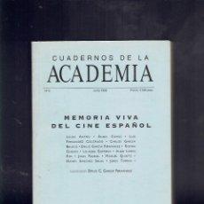 Libros de segunda mano: CUADERNOS DE LA ACADEMIA N,3, 1 EDICION JUNIO 1998 MEMORIA VIVA DEL CINE ESPAÑOL. Lote 195284335