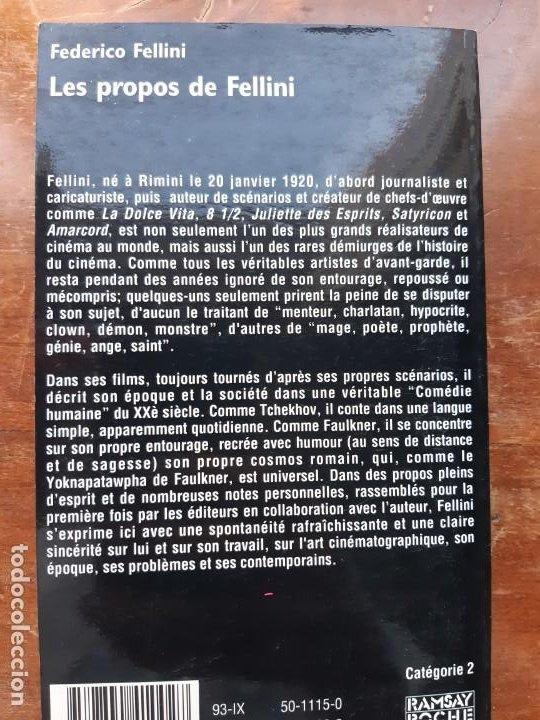 Libros de segunda mano: Les propos de Fellini Federico Fellini - Foto 4 - 196538410