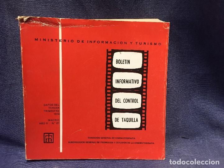 MINISTERIO INFORMACION TURISMO BOLETIN INFORMATIVO CONTROL TAQUILLA 3 TRIMESTRE 1974 MADRID Nº 67 (Libros de Segunda Mano - Bellas artes, ocio y coleccionismo - Cine)