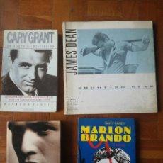 Libros de segunda mano: LOTE 4 LIBROS ACTORES DE CINE ANTIGUOS DE HOLLYWOOD GARY GRANT. JAMES DEAN. MARLON BRANDO. Lote 219770330