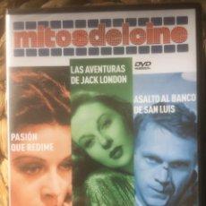 Libros de segunda mano: PASION QUE REDIME/LAS AVENTURAS DE JACK LONDON/ASALTO AL BANCO... DVD MITOS DEL CINE EX. PRECINTADO.. Lote 221848091