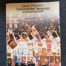 Libros de segunda mano: INFORMACIÓN, LENGUAJE COMUNICACIÓN. Lote 266366763