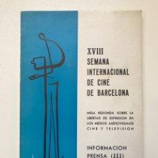 Libros de segunda mano: XVIII SEMANA INTERNACIONAL DE CINE DE BARCELONA 1976 REF I. Lote 278206998