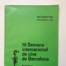 Libros de segunda mano: 19 SEMANA INTERNACIONAL DE CINE DE BARCELONA 1977 REF I. Lote 278207193