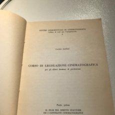 Libros de segunda mano: CENTRO SPERIMENTALE DI CINEMATOGRAFIA CORSO DI LEGISLAZIONE CINEMATOGRÁFICA PAOLO BAFILE REF I. Lote 278210768