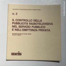 Libros de segunda mano: N 2 QUADERNI DI DOCUMENTAZIONE PUBLICITARIA 1981 REF I. Lote 278211448