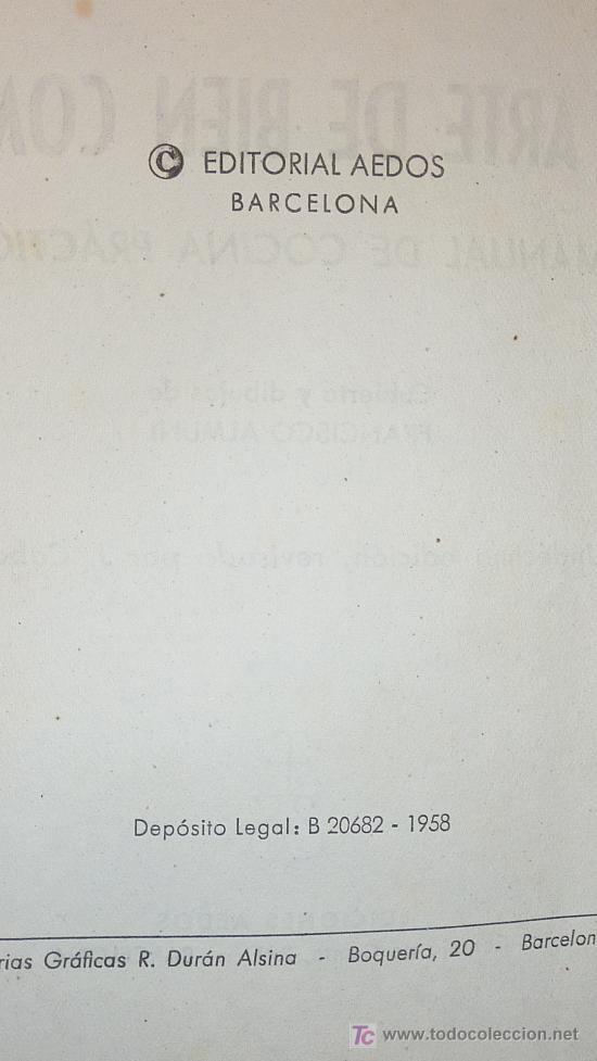 Libros de segunda mano: Libro el arte de bien comer. 1958. Recetas de cocina antiguas. - Foto 4 - 25449174
