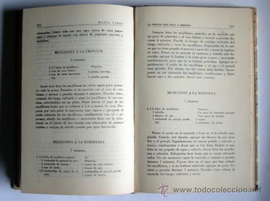 Libros de segunda mano: LA COCINA CON OLLA A PRESION - MARIA VIDAL - EDICIONES GINER.1957. - Foto 4 - 34176909