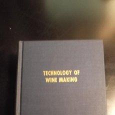 Libros de segunda mano: TECHNOLOGY OF WINE MAKING [HARDCOVER] MAYNARD ANDREW AMERINE 1972 ED. USA VINO VITICULTURA BODEGA. Lote 36087678