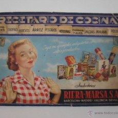 Libros de segunda mano: RECETARIO DE COCINA - RIERA MARSA. Lote 49569403