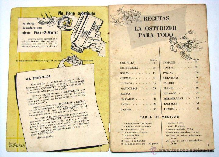Recetario De Cocina.Antiguo Recetario Recetas Cocina Gastronomia Licuadora Osterizer Años 1950 S
