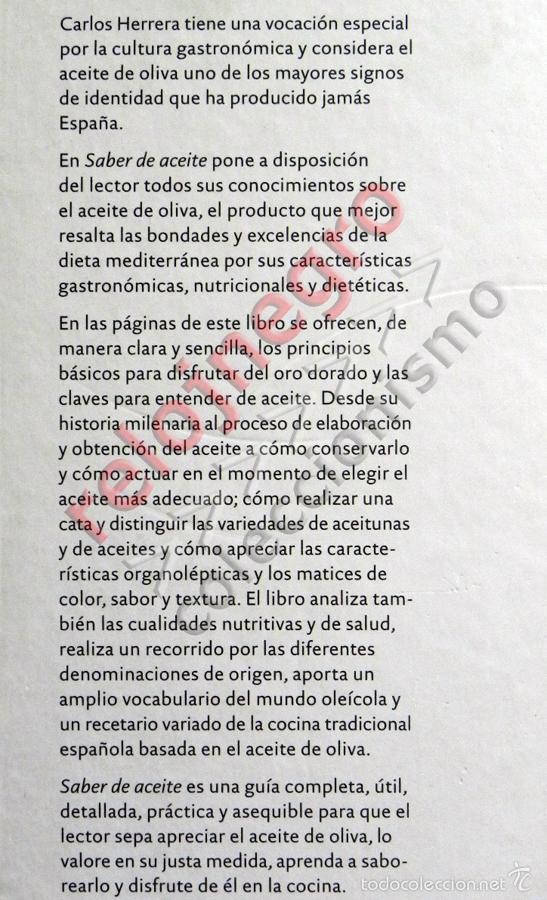 Libros de segunda mano: SABER DE ACEITE LIBRO HERRERA GASTRONOMÍA ACEITUNAS CATA SALUD RECETAS OLIVOS GUÍA ACEITES ANDALUCÍA - Foto 3 - 56905466