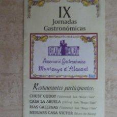 Libros de segunda mano - FOLLETO IX JORNADAS GASTRONÓMICAS. MUNTANYA D'ALACANT - 63254880