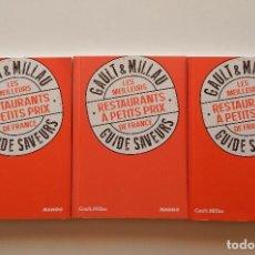 Libros de segunda mano: GAULT & MILLAU. LES MEILLEURS RESTAURANTS À PETITS PRIX DE FRANCE - PHILIPPE TOINARD - 3 LIBROS. Lote 68754033