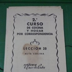 Libros de segunda mano: 2 CURSOS DE COCINA Y HOGAR POR CORRESPONDENCIA. Lote 80240077