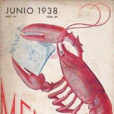 Libros de segunda mano: MENAGE Nº 89 JUNIO 1938. Lote 93075220