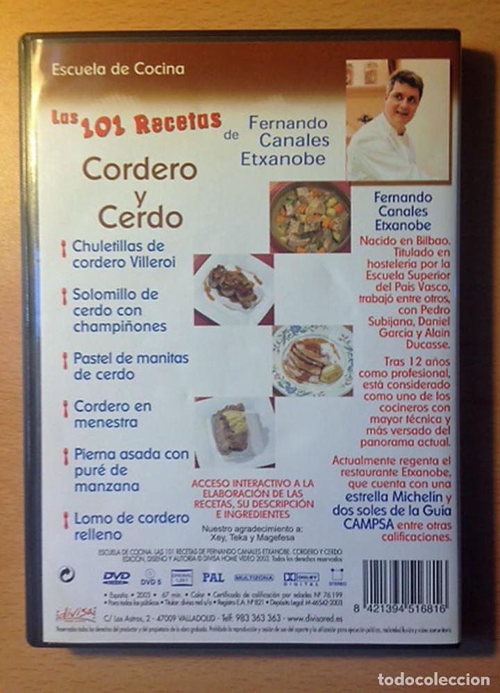 Libros de segunda mano: COCINA - DVD - LAS 101 RECETAS DE FERNANDO CANALES ETXANOBE - CORDERO Y CERDO - Foto 2 - 95830171