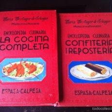 Libros de segunda mano: 2 UNI ENCICLOPEDIA CULINARIA.LA COCINA COMPLETA. CONFITERIA Y REPOSTERIA MARÍA MESTAYER ESPASA 1964. Lote 112116055